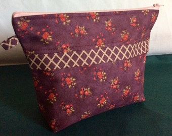 Handemade Cotton Makeup Bag, Cosmetic Bag, Makeup Purse, Cosmetic Purse, Gift for Her.