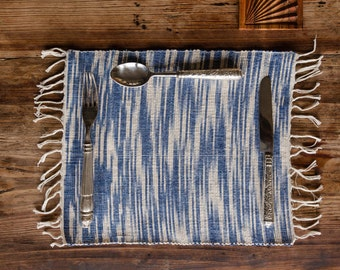 4 Blue Ikat Hand Woven Placemats - set of 4