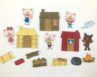 Three Little Pigs - Felt Board Story - Flannel Board - Speech Therapy - Children's Gift