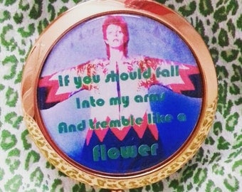 David Bowie rose gold compact mirror