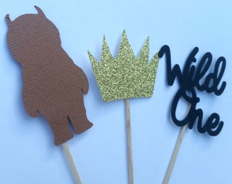 Where the wild things are birthday cupcake toppers/ Wild one