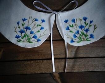 Hand embroidered collar, Detachable collar, Peter pan collar, Linen collar, White collar, Floral collar, Blue cornflower embroidery