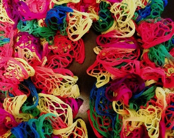 Ruffle Scarf Bright Colors. Rainbow