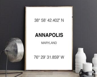 Annapolis Print, City Coordinates, Art Print, Wall Art, Typograhie, City Print, Home Decor, City Art, Printable Art, Digital Download