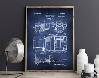 Jeep Poster, Willys Jeep Poster, Jeep Patent, Military Vehicle, Patent Art, Wall Decor, Art, Wall art, Print, Art print, Digital Art