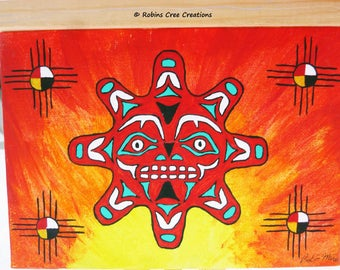 Original acrylic painting, Native sun painting, 5x7 Painting, hand painted in canada