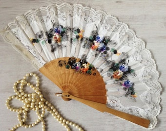 White fabric hand painted fan vintage, floral lace wood fan