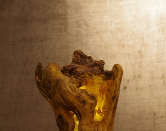 "Driftwood decorations Treibholz lamp sculpture Driftwood ""Firecup"" - the Goblet of fire"