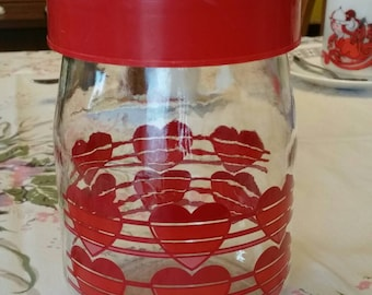 """Lovely Vintage """"Carlton Glass USA"""" Loving Hearts glass container with lid"""