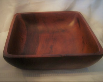 Large Square Wooden Serving Bowl 12 In Square 3/4 In Lip Handcrafted Beautiful Wood Grain Table Centerpiece  Farmhouse Decor Gift