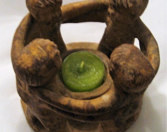 Primitive Stoneware Circle of Friends Candle Holder Hecho Mexico Rustic Mexican Folk Art Centerpiece Primitive Decor Gift