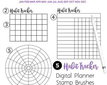 Procreate Brushes iPad Digital Planner Habit Trackers