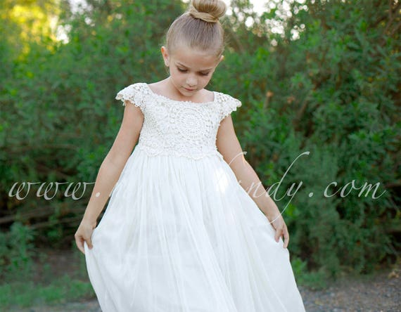 Rustic Flower Girl dress, Mia Dress Floor Length Dress,Boho Lace Crochet Flower Girl Dress,Ivory Bohemian Boho Floor Length girl girls Dress