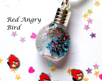 Red Angry Bird, Snowglobe Necklace,snowglobes,angry bird charms,angry bird necklaces,jewelry,custom,mini bottle,red angry bird, kids jewelry