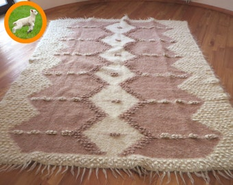 Wool Area Rug, Beige Woven Rug, Livingroom Rug, Throw Wool Blanket, Queen