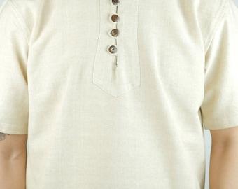 Handmade Hemp/Cotton button T-shirt