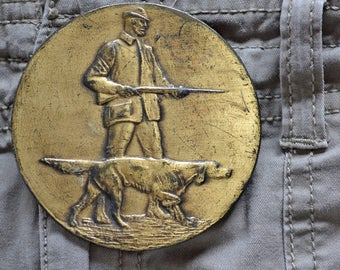 Vintage Brass Belt Buckle with Huntsman and Dog