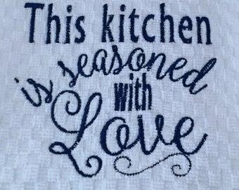 Hand-made (machine) embroidered tea towel