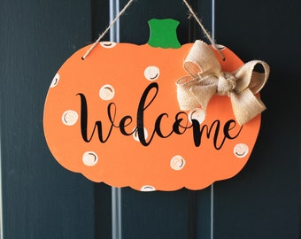 Fall Welcome Pumpkin Door Hanger