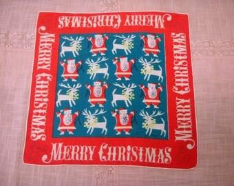 Vintage Tammis Keefe Christmas Handkerchief c. 1950s