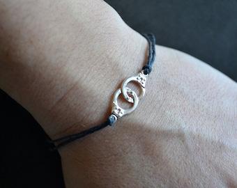 Linen Bracelet, Women's bracelet, Linen Jewelry, Men's bracelet, Sterling Silver Bracelet, Multistrand Linen, Birthday, Gift for Her