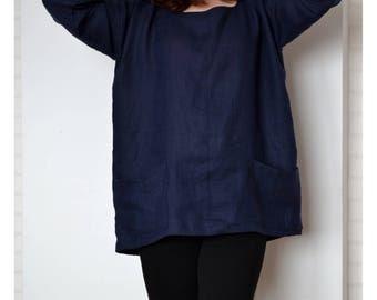 Plus size blouse, linen blouse,plus size linen top, plus size linen, loose linen shirt, plus size summer blouse, womens linen kimono blouse
