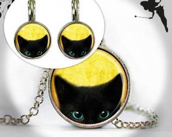 Jewelry set cat cabochon jewelry Earrings Necklace