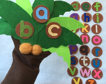 Chicka Chicka Boom Boom Felt / Flannel Board Story/Alphabet Letters/Number/ Hand Puppet/FELT BOARD RHYME/Teacher Resource/