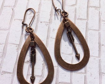 Arrow and copper teardrop earrings