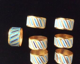 SALE!  Vintage Napkin Rings, Cloisonne, Russian , Leningrad Jewelry Factory
