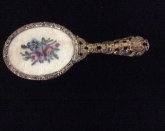 SALE REDUCED!  Vintage Mirror, Petite Point,Made in Austria, Beveled Mirror, Ormolu Handle