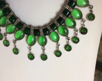 APRIL SALE! Antique Art Nouveau Bib Necklace, Silver and Green Glass, Fabulous!