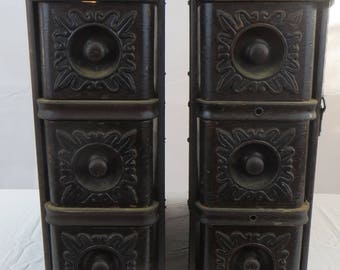 Antique Sewing Machine Drawers and Frames set of 6 Ornate Singer 1908 With Key