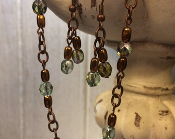 Copper and Green Crystal Bracelet and Earrings Set