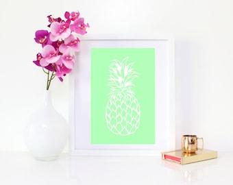 DIGITAL DOWNLOAD, Pineapple,  White Pineapple Art, Pineapple Printable, Pineapple Wall Decor, Tropical, Fruit Art, Mint, Tropical Art