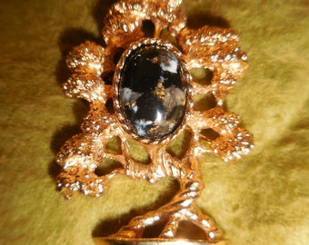"""Vintage Gold-tone w/Black Confetti Cab Figural Bonsia Tree Signed """"AMWAY"""" Brooch Pin"""