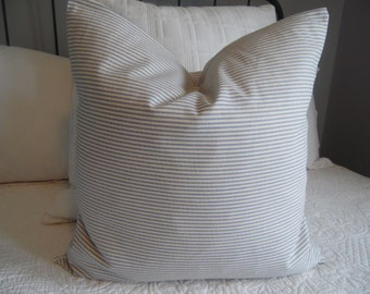 3 CHOICES:Small Blue Ticking.Striped Pillow Cover.White.Light Blue.TICKING.Farmhouse Pillows.Farmhouse Decor.Country Living Decor Stripes.