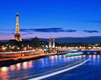 Vibrant Paris Waterfront wall art canvas .... various sizes available