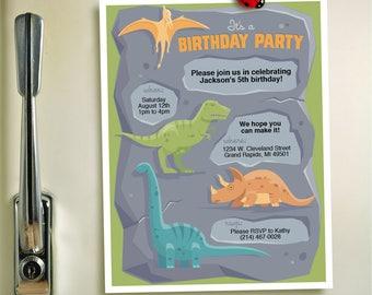 Dinosaur Themed Child's Birthday Party Invitation DIY Printable