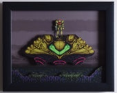 """Super Metroid (SNES) - """"The Gunship"""" 3D Video Game Shadow Box with Glass Frame"""