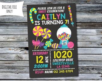 Candy Birthday Invitation, Sweet Invitation (Personalized) Digital Printable File