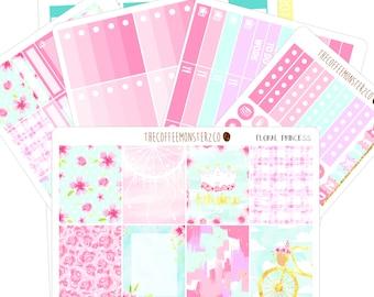 Floral Princess full vertical kit ( erin condren planner stickers )