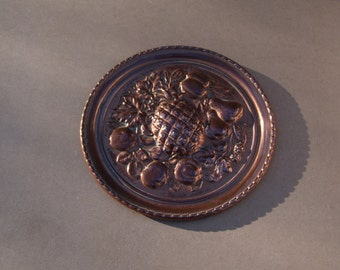Copper Wall Plate - Fruit Design - Lombard Made in England - Vintage Copper