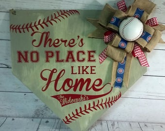 Personalized Baseball Door Hanger/MLB Home Plate/No Place like Home