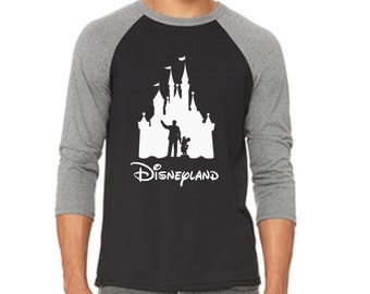 Disney Baseball Tee Raglan Walt and Mickey Castle Shirt Disneyland Shirt Disney World Shirt Magic Kingdom Shirt