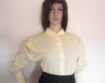 Vintage 80s blouse blouse cuff collar blouse S / M