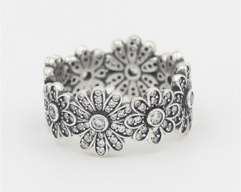 Beautiful Genuine S925 Sterling Silver Daisy Rings, Vintage Flower Daisy Ring, Silver Stacking Ring, Daisy Chain Ring Band, Women Gift -SR02