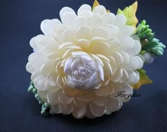 Big Flower ponytail holder Beautiful Flower, Handmade Flower, Hair Jewelry, Flower For Hair Baby Girl, Flower Girl, Wedding Flower hair clip