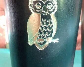 Black tumblers gold owls design vintage plastic tumblers black and gold owl