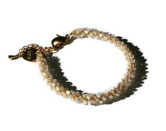 Seed bead bracelet, boho beaded dainty gold stacking bracelet, wire crochet jewelry